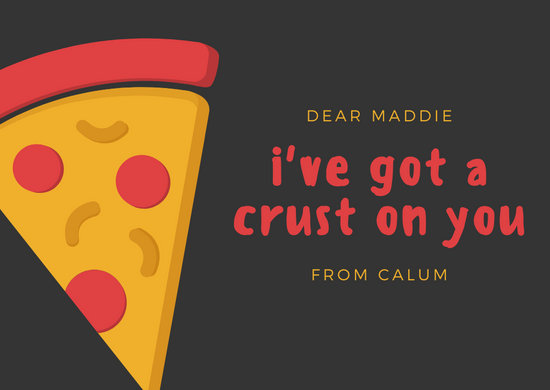 Red Yellow Pizza Love Postcard
