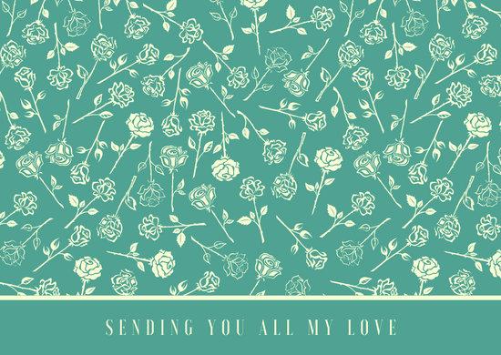 Teal Rose Pattern Love Postcard