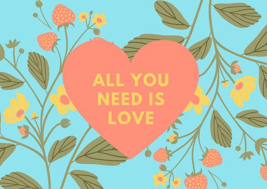 Colorful Pastel Floral Love Postcard