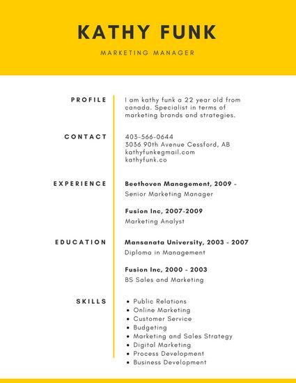 Yellow Simple Corporate Resume