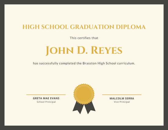 Gold Ribbon High School Diploma Certificate