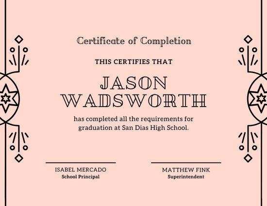 Pink Vector Border High School Diploma Certificate