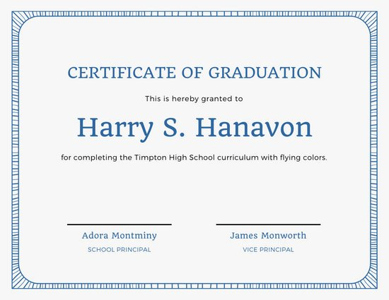 Blue Border Formal High School Diploma Certificate