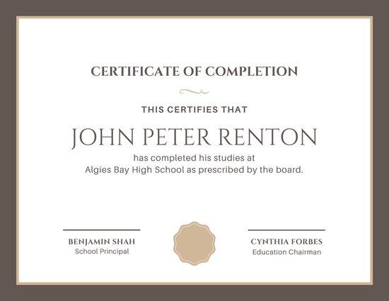 Brown Border High School Diploma Gift Certificate