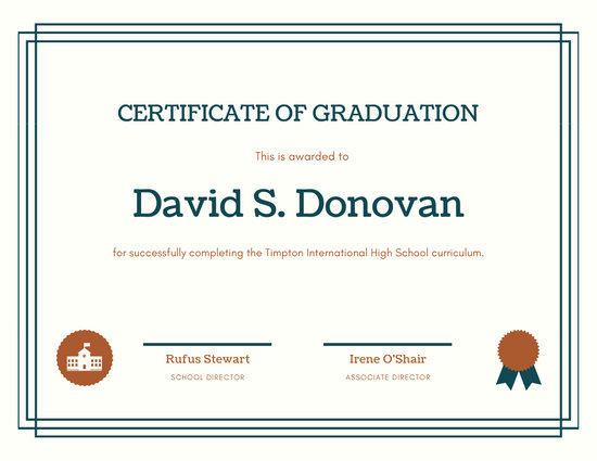 Blue Bordered High School Diploma Certificate