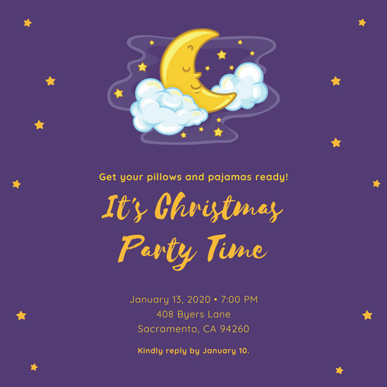 Purple Sleeping Moon Illustration Sleepover Invitation