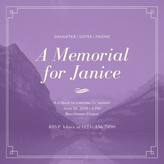 Violet and White Border on Image Memorial Invitation