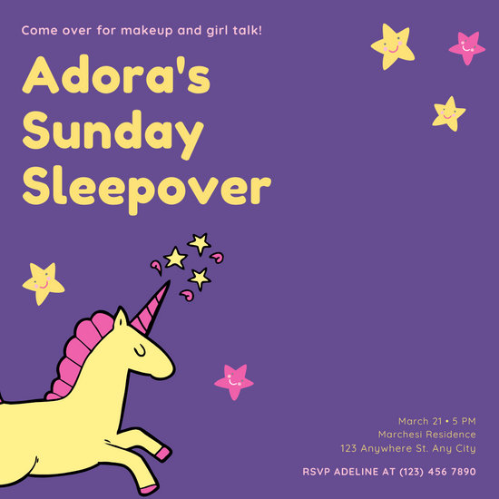 Yellow Pink Illustrated Unicorn Sleepover Invitation