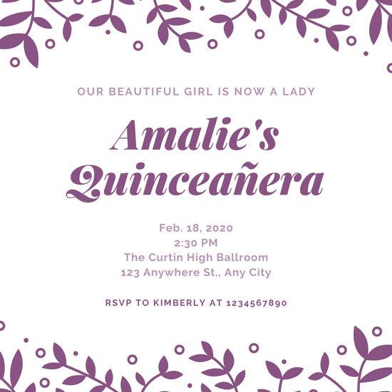 Purple Leaves Quinceañera Invitation