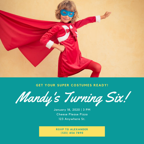 Teal Kid Photo Superhero Invitation