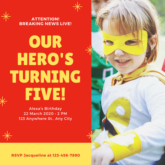 Red and Yellow Sparkles Photo Superhero Invitation