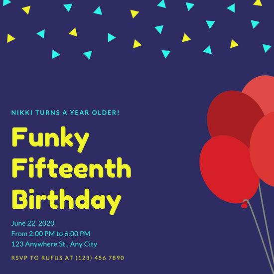 Quinceanera Confetti Balloons Funky Fifteen Invitation
