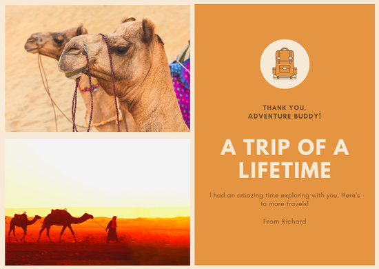 Orange Brown Travel One-liner Photo Card