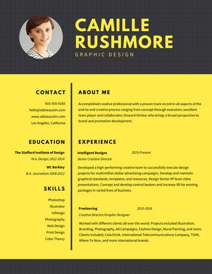 Yellow Grid Graphic Design Resume
