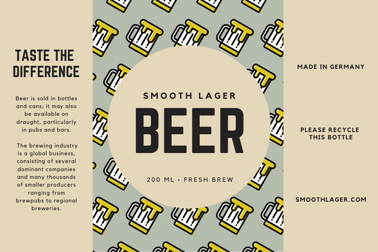 Tan and Green Mug Pattern Industrial Beer Label