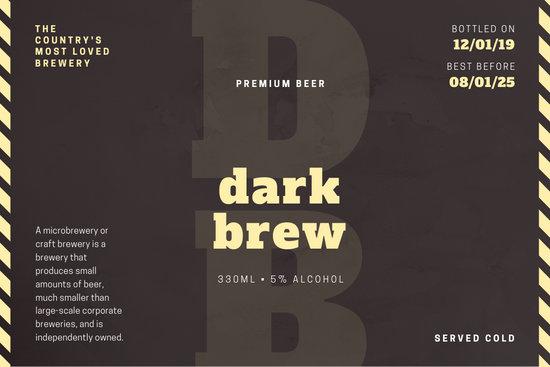 Beige Brown Rustic Beer Label