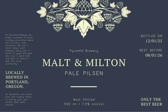 Dark Blue and Beige Malt Vector Beer Label