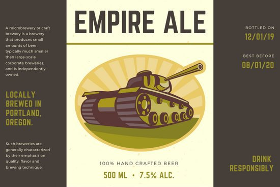 Brown and Cream War Tank Empire Beer Label