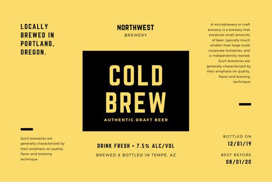 Yellow Black Lines Minimalist Modern Beer Label