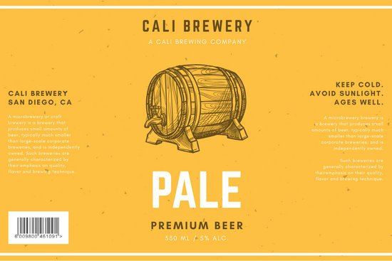Yellow with Texture and Wooden Barrel Beer Label