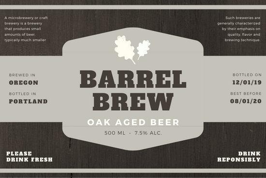 Brown & Gray Wood Textured Beer Label