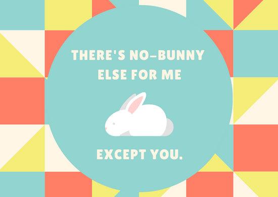 Colorful Triangle Cute Bunny Love Postcard