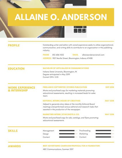 Yellow with Photo Header College Resume