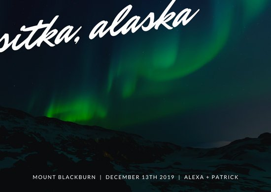 Northern Lights Simple Typographic Travel Postcard