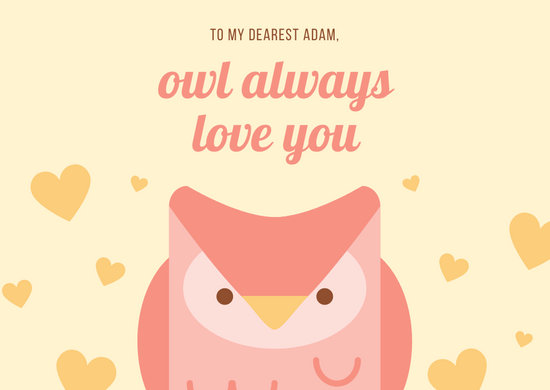 Yellow and Pink Cute Owl Love Postcard