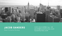 Blue Green with Grayscale Photo of City Real Estate Business Card