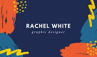 Blue and Orange Brush Strokes Creative Business Card