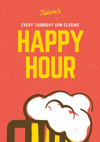 Red and Yellow Beer Mug Happy Hour Flyer