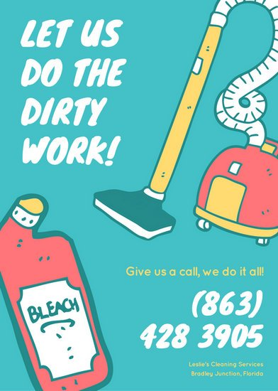 Teal Coral And Yellow Cleaning Services Flyer Templates