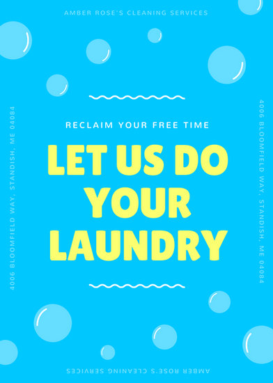 blue and yellow laundry and dry cleaning flyer