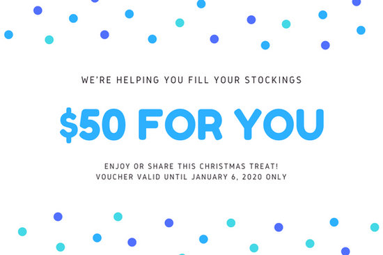 White with Blue Polka Dots and Snowflakes Christmas Gift Certificate