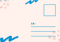 Pink Blue Heart and Arrows Postcard