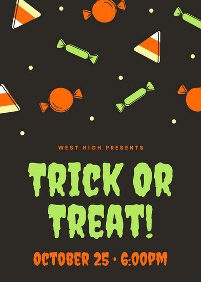 orange and neon green candy pattern trick or treat