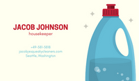 Cream with Blue Cleaning Product Bottle Cleaning Business Card