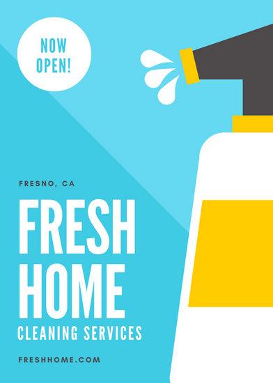 blue spray bottle cleaning fresh spritz flyer