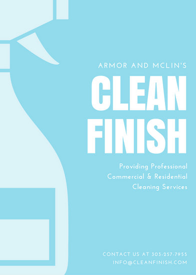 Light Blue Hand Brush and Spray Cleaning Flyer