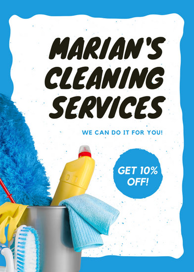 blue dusted pattern cleaning lady cleaning flyer templates by canva
