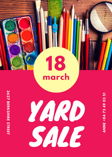 pink yard sale flyer