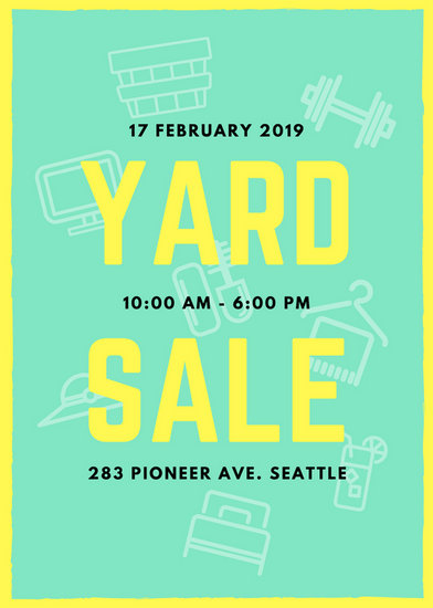 mint green and yellow yard sale flyer