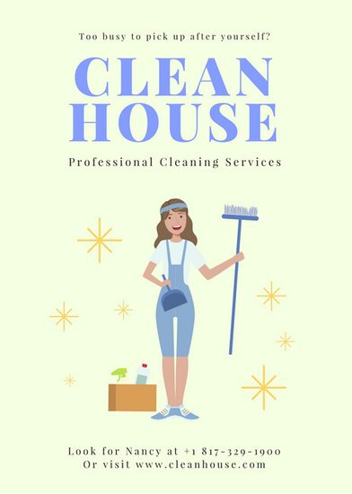 Cream Illustrated Cleaner Cleaning Flyer  Templates By Canva