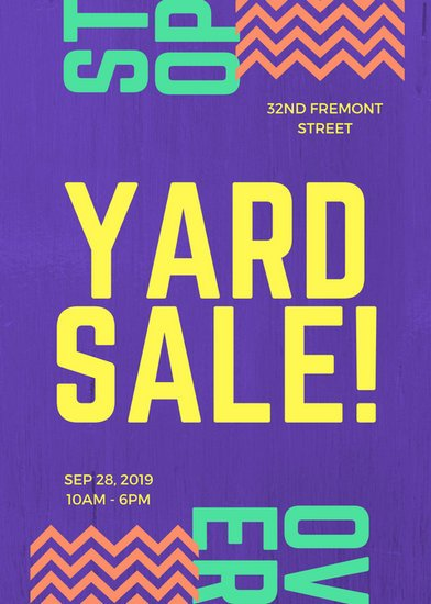 Purple Modern Bold Yard Sale Flyer