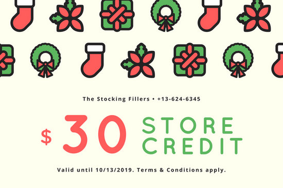 Cream with Red and Green Christmas Icons Christmas Gift Certificate