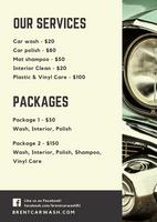Cream Retro Shiny Vintage Car Wash Flyer