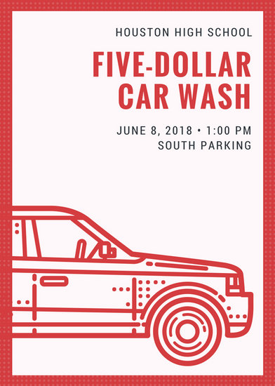 Red Illustrated Car Wash Flyer Templates By Canva