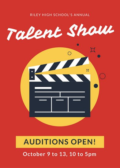 red and yellow talent show flyer