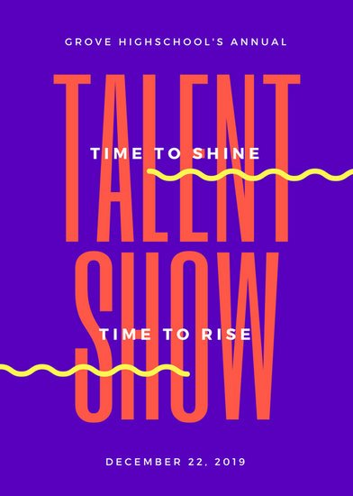purple and orange bold talent show flyer